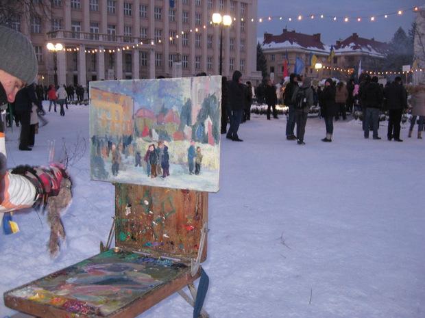Молодий художник із Мукачева вирішив зобразити ужгородський мітинг на картині (ФОТО)