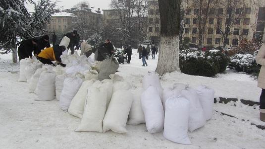 В Ужгороді активісти заблокували мішками зі снігом входи до Закарпатської ОДА (ФОТО)