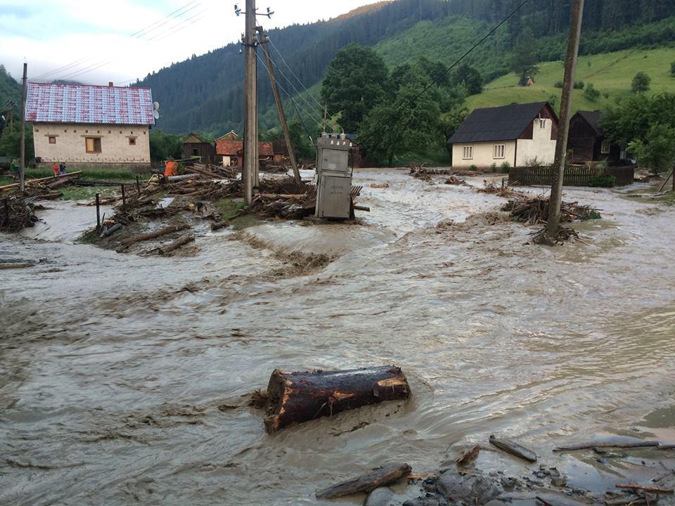 Негода на Рахівщині: злива спричинила потужний селевий потік та підтопила дворогосподарства