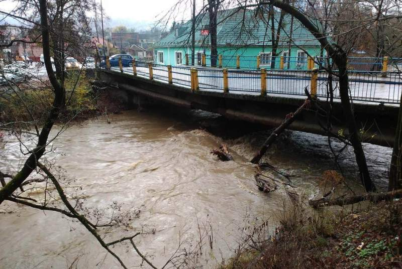 Сильні зливи на Закарпатті призвели до підтоплення земельних угідь, доріг та руйнації мосту