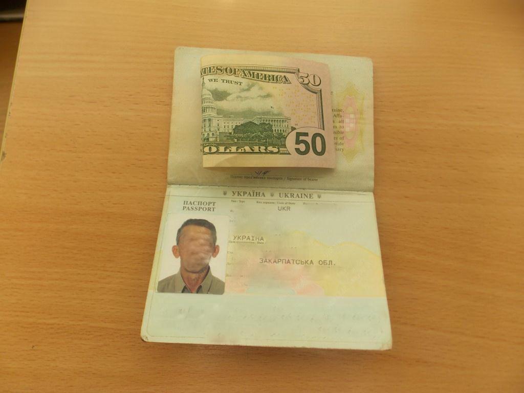 Українець намагався підкупити закарпатського прикордонника хабарем у розмірі 50 доларів США