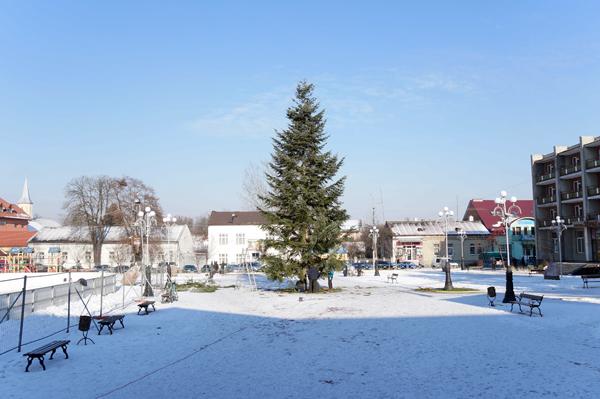 У Тячеві встановили новорічну ялинку