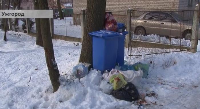 """Одна із вулиць Ужгорода потопає у відходах. Через неочищену дорогу """"АВЕ"""" вже два тижні відмовляється їхати за сміттям"""