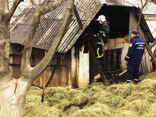 Вогнеборці 5-ї державної пожежно-рятувальної частини Іршави гасили надвірну споруду