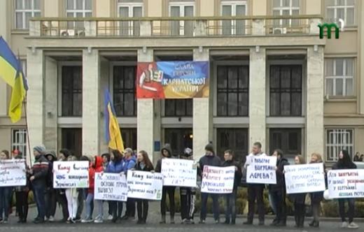 В Ужгороді під стінами ОДА протестувальники вимагали припинити знищувати ліси Закарпаття