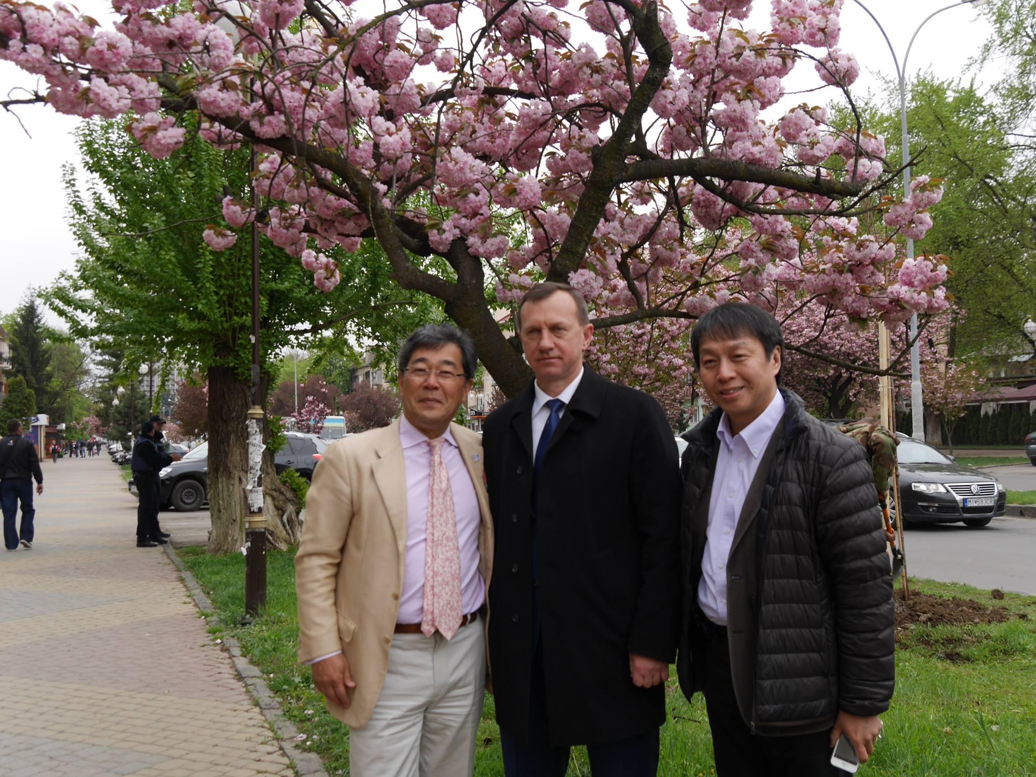 Японський урядовець вражений Ужгородом і сакурами, які тут ростуть