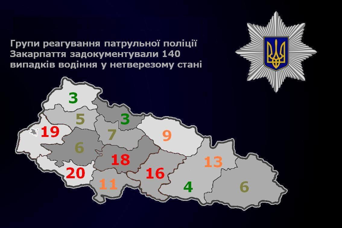 У яких районах Закарпаття найчастіше затримують п'яних водіїв: оприлюднено карту