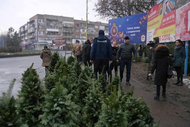 """На """"П'яному базарі"""" в Ужгороді виявили недобросовісних продавців ялинок"""