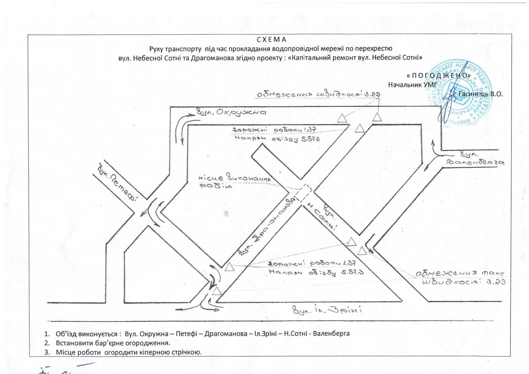 У Мукачеві буде перекрито рух по вул. Драгоманова на перехресті з вул. Небесної Сотні