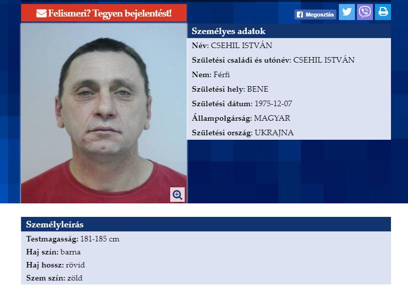 В угорському місті Матесалька зник безвісти уродженець села Бене Іштван Чегіль