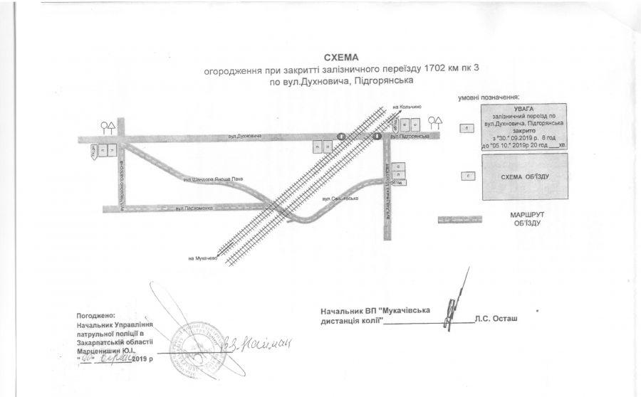 У Мукачеві в мікрорайоні Підгоряни на кілька днів закриють переїзд через залізничну колію
