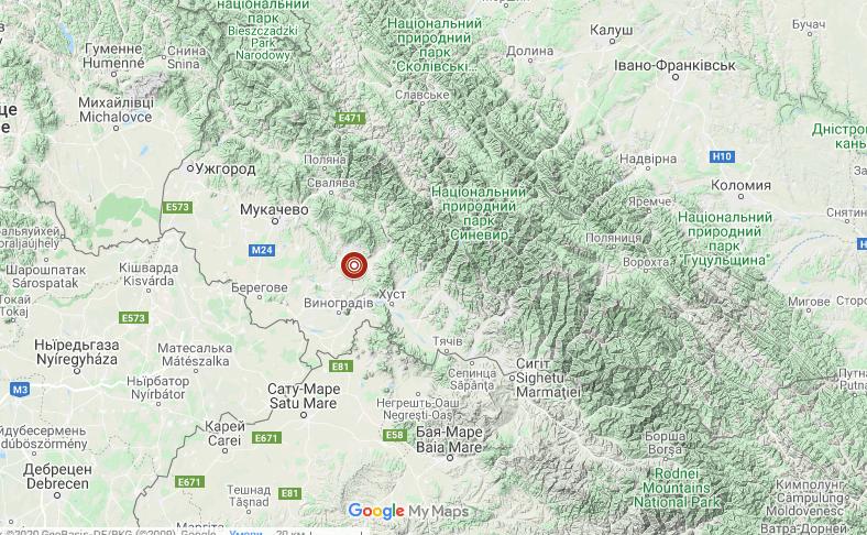 Вночі на Закарпатті стався землетрус. Фахівці визначили епіцентр поштовхів