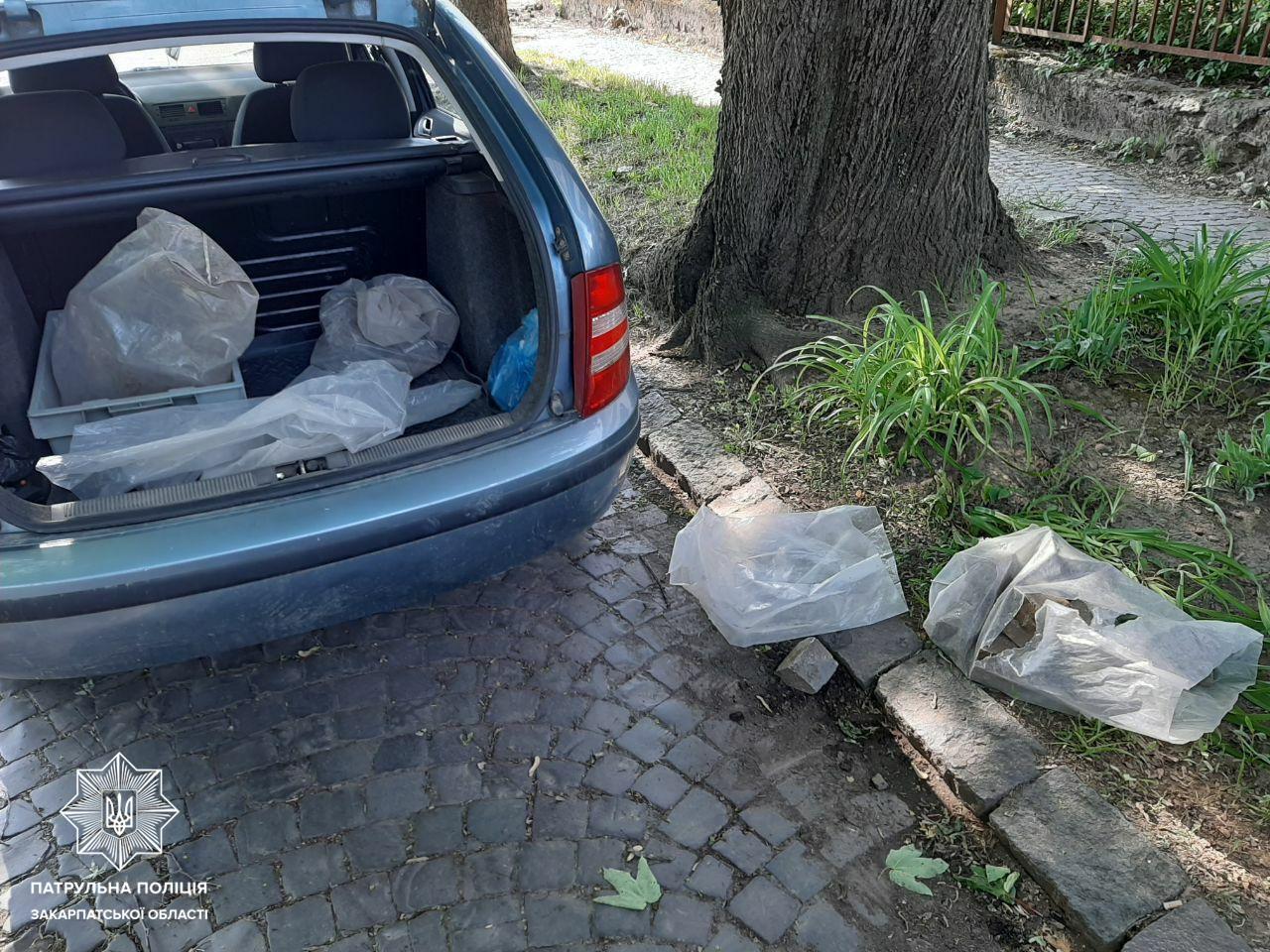 Патрульні помітили, як чоловік збирав бруківку з тротуару та вантажив у свою автівку