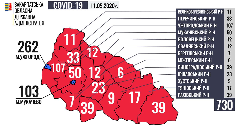 Кількість хворих на COVID-19  у Закарпатті сягнула 730: карта поширення
