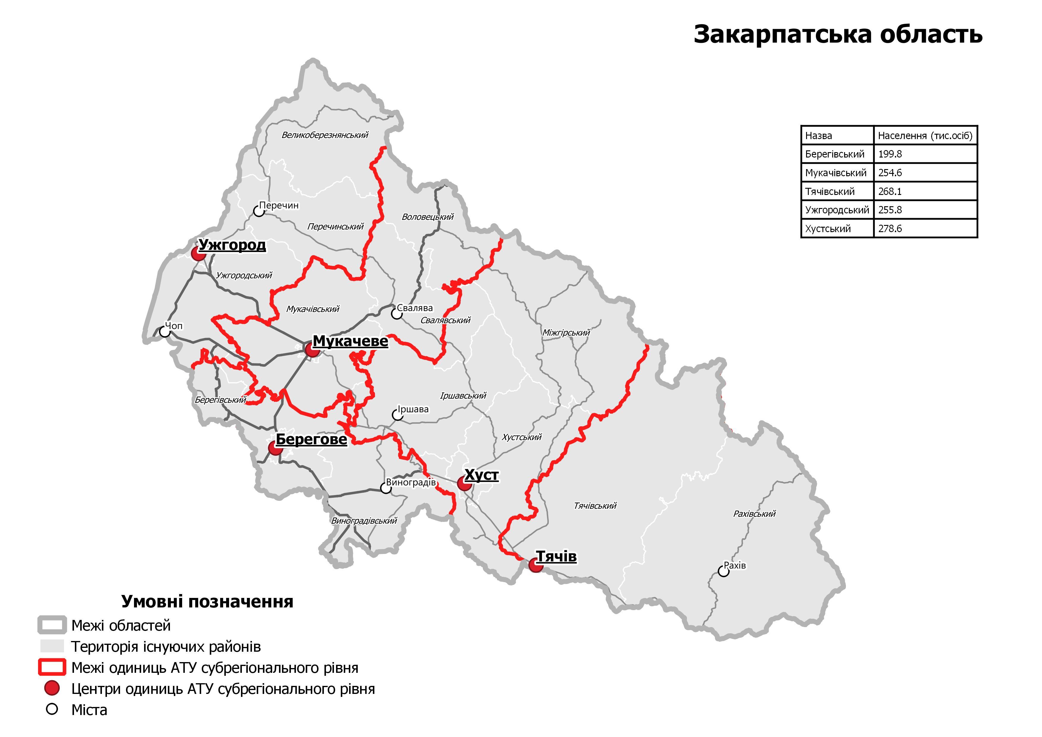 Мінрегіон оприлюднив проєкт майбутніх районів Закарпатської області