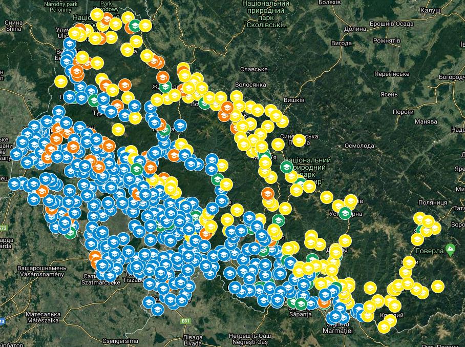 На Закарпатті запустили онлайн-карту, на якій можна переглянути інформацію про всі заклади освіти