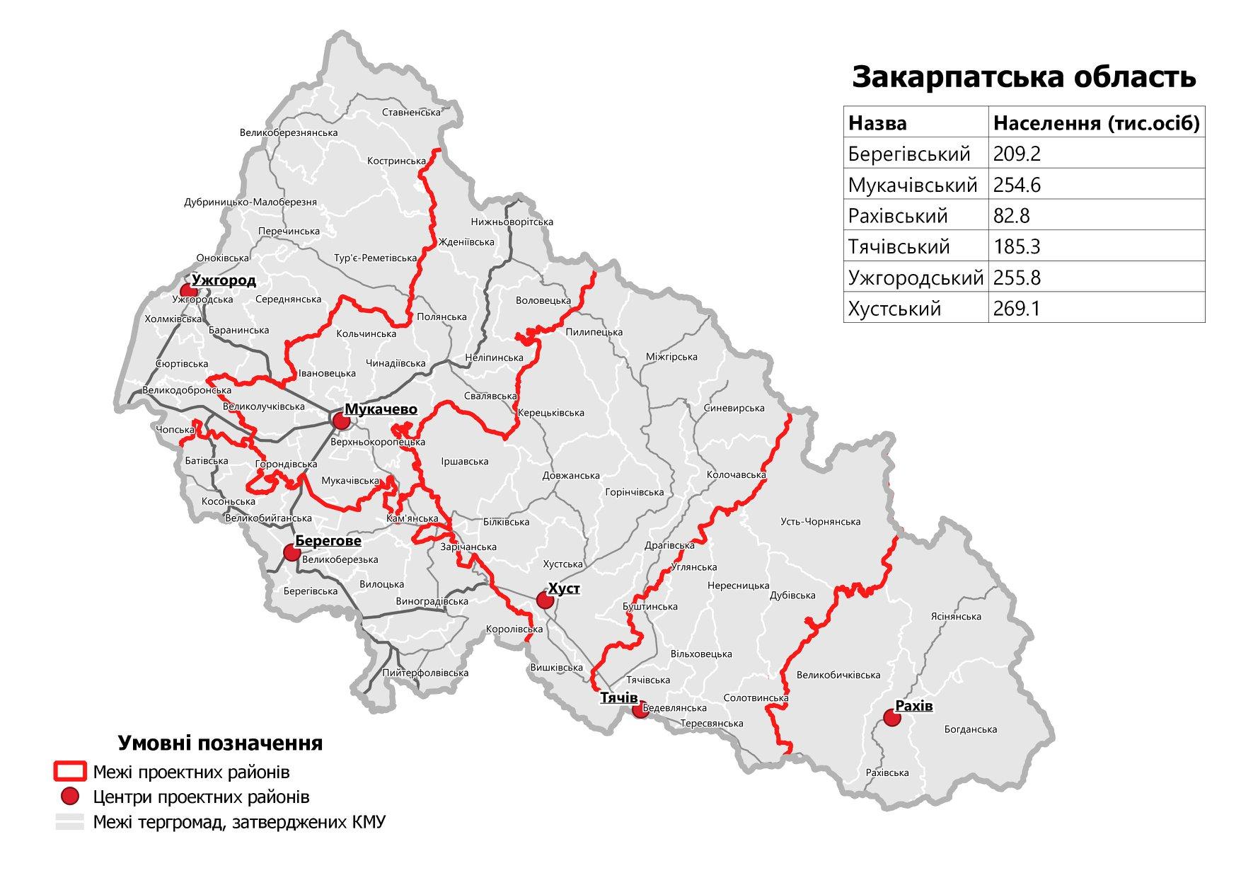 Комітет Верховної Ради попередньо підтримав 6 укрупнених районів у Закарпатті