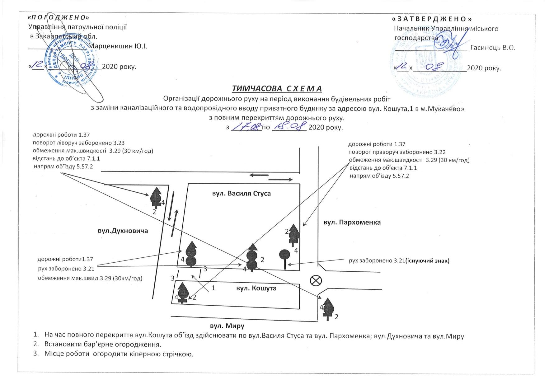 У Мукачеві на два дні перекриють вулицю, яка прилягає до вулиці Духновича