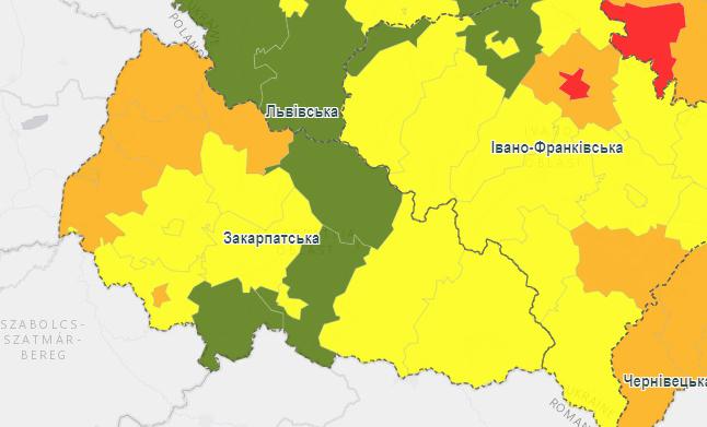 На Закарпатті почало діяти нове епідемічне зонування: які райони області в якій зоні