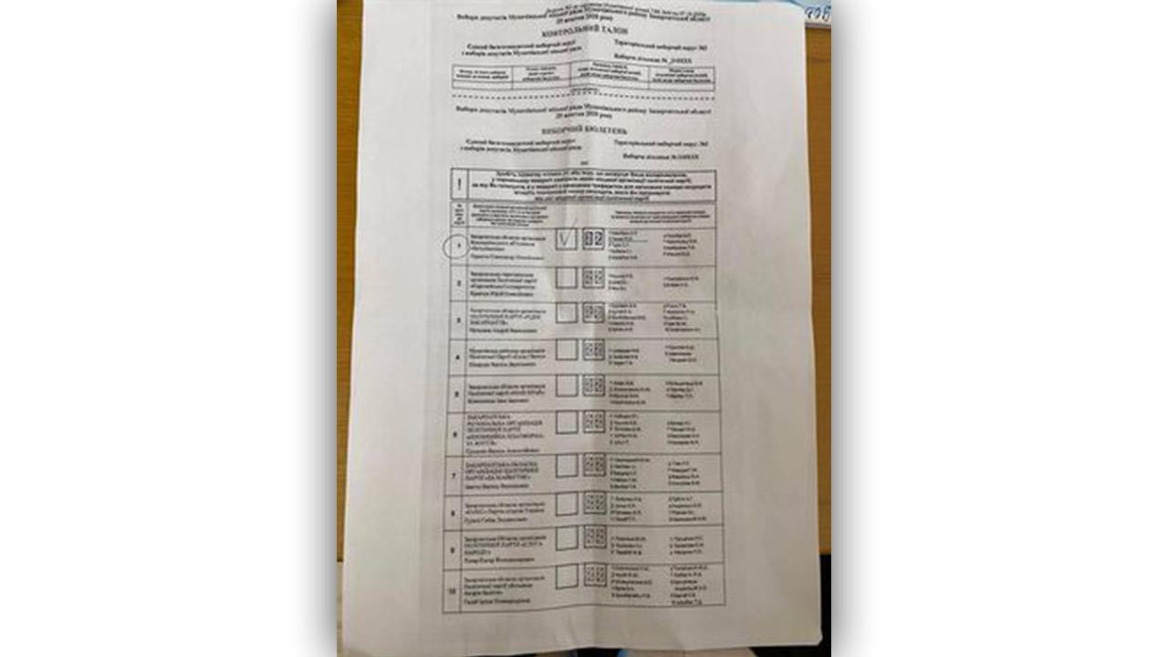 """У Мукачеві жінка прийшла голосувати із роздрукованою """"копією"""" бюлетеня, – ЗМІ"""