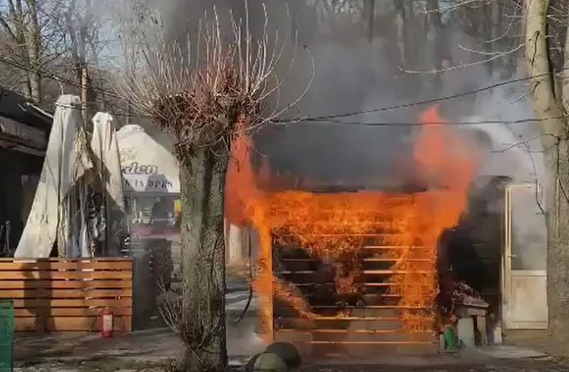В Ужгороді у Боздоському парку горить кафе Ribs: опубліковано відео з місця події