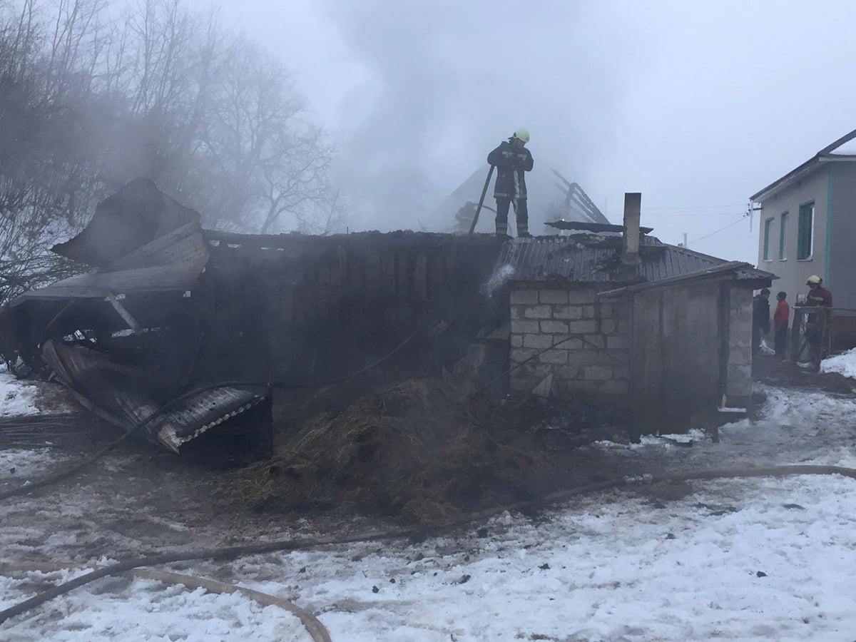 Люди рятували свійську худобу та намагались засипати вогонь снігом: на Закарпатті трапилась пожежа