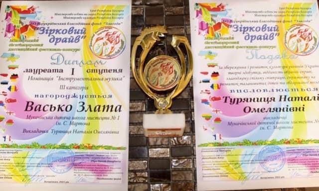 Мукачівська школярка перемогла на Міжнародному дистанційному фестивалі-конкурсі