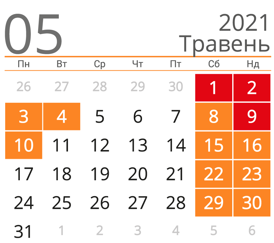 Травневі свята та вихідні 2021: коли відпочиватимемо