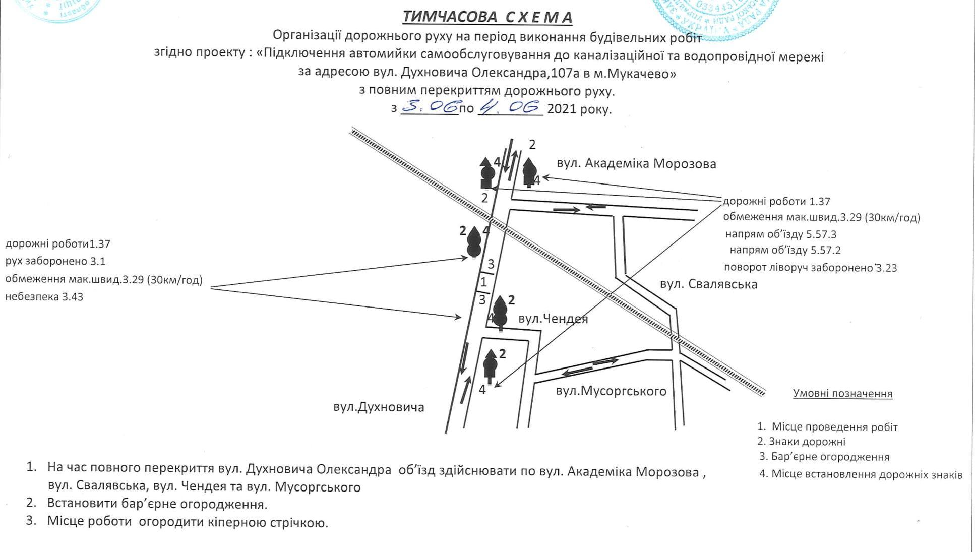 У Мукачеві на два дні перекриють вулицю Духновича: схема об'їзду