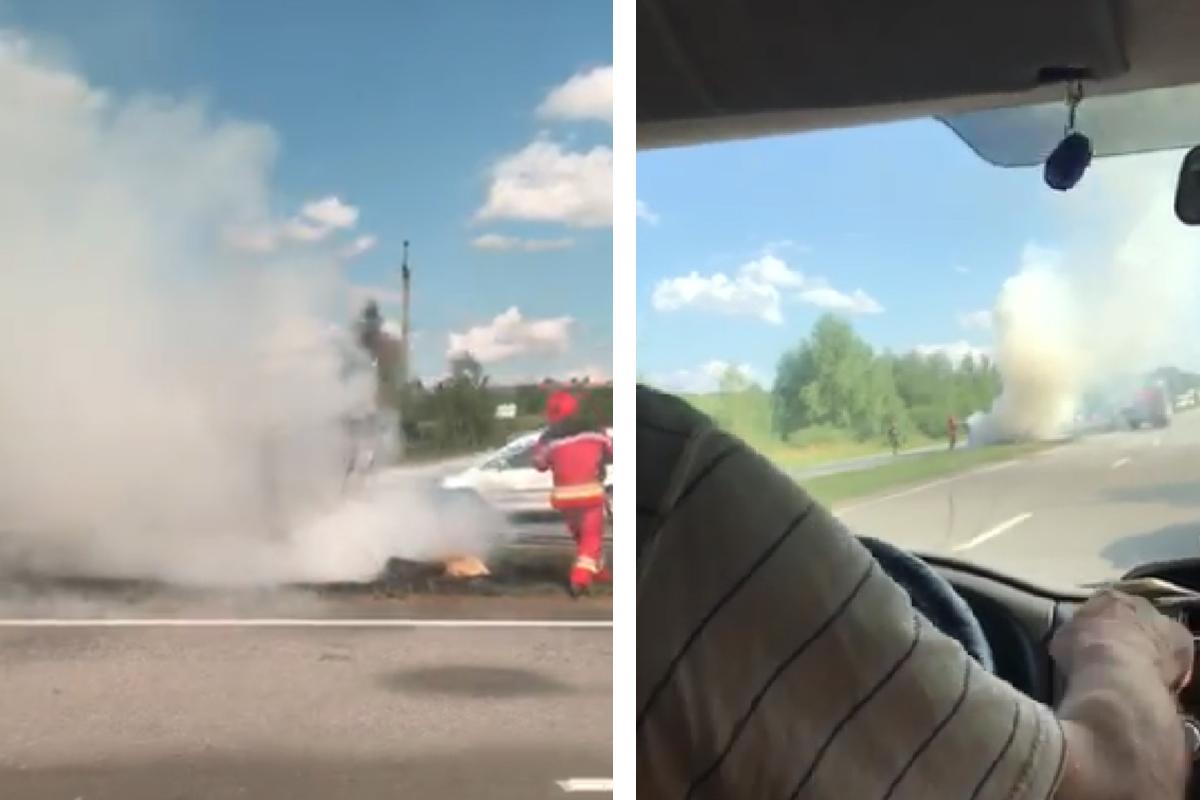 На трасі Київ – Чоп загорівся автомобіль