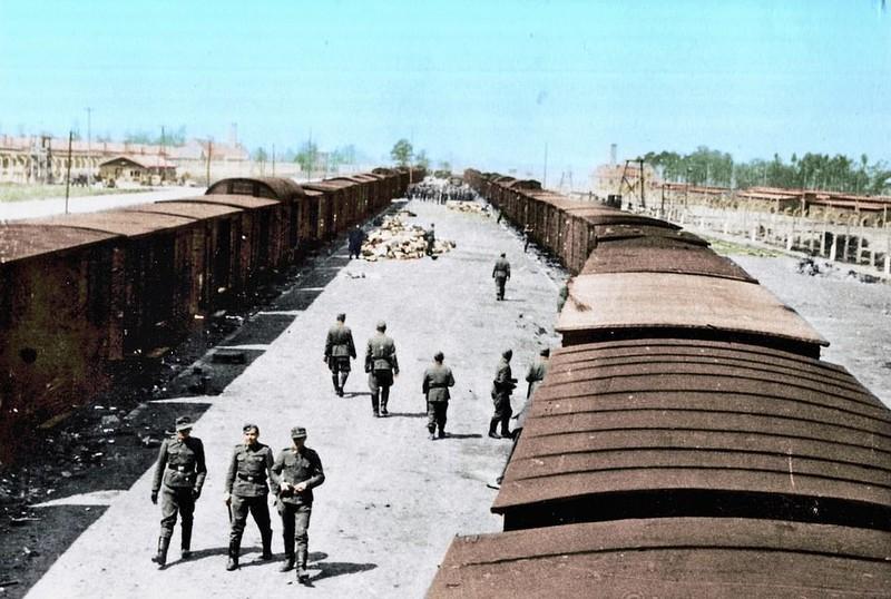 Нацисти поблизу поїздів в